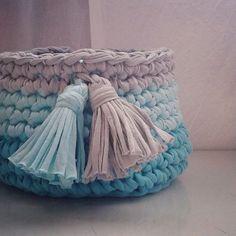 cesta de croche com fio de malha - DIY - artesanato - crochet basket