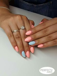 Perfect for spring - peach nail Perfect for spring - peach nail Peach Nails, Pastel Nails, Blue Nails, Almond Nails Designs, Nail Designs, Aycrlic Nails, Best Acrylic Nails, Dream Nails, Nagel Gel