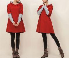 2014 Long Red Hoody W/ Gray Sleeves Loose Fit by DressOriginal, $57.00