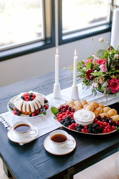 Bundt cake with fresh fresh berries and coffee make for an inviting dessert table
