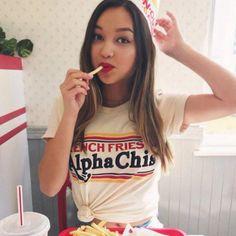 French Fries & Alpha Chi's / alpha chi omega shirt / greek gifts apparel / greek sorority t shirts Chi Omega Shirts, Alpha Chi Omega, Alpha Phi, Sorority Shirt Designs, Sorority Shirts, Brunette Models, Blonde Model, Sorority Outfits, Sorority Life
