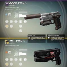 the good twin & the evil twin weapon concepts✨ found on bungies creation page.. which one would you choose?