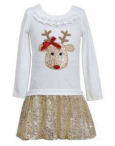 Your little girl will shine and sparkle this holiday season in this adorable ivory & gold sequined REINDEER dress by Bonnie Jean! (sz.2T-12) #Christmas