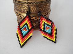 Native American Earrings beaded Jewelry Gift for Women Orange Beaded Earrings Native, Beaded Earrings Patterns, Beaded Cuff Bracelet, Seed Bead Earrings, Beaded Jewelry, Beading Patterns, Diamond Jewelry, Bead Jewellery, Bracelets