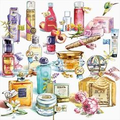 Makeup Illustration, Makeup Drawing, Perfume Making, Print Pictures, Girly Things, Watercolor Art, Perfume Bottles, Lux Products, Beautiful