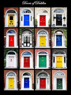 the Georgian style exteriors of these townhouses, by virtue of strict rules laid down by the developer, had to adhere to very specific architectural guidelines - they were all, to the smallest detail, uniformly built.  So, in order to set themselves apart, the residents of Georgian Dublin started painting their front doors whatever color struck their fancy (red was more durable and became a favorite).  They, also, added ornate door-knockers, elegant fanlights above the door and wrought iron…