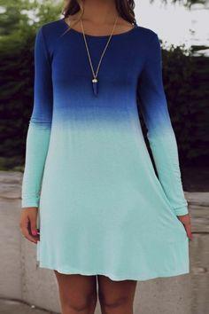 Casual Round Neck Long Sleeve High Waist Ombre Print A-Line Dress
