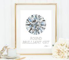 Round Brilliant Cut Diamond Watercolor Rendering printed on Paper