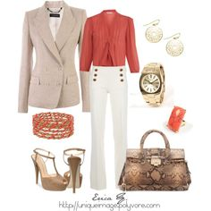 cute business casual outfit-love this, but if I wear white pants to work out I am bound to spill coffee on them