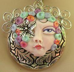 Silver Flower Goddess Pendant Necklace