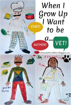 This When I Grow Up I Want To Be kids craft is great for all ages. We used a Melissa & Doug art supply to make it! Play Based Learning, Fun Learning, Preschool Activities, Community Workers, Community Helpers, Art For Kids, Crafts For Kids, People Who Help Us, Drawing Activities