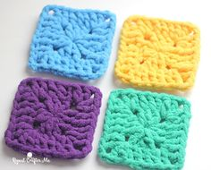 Bright and Bulky Bernat Blanket Squares - free crochet pattern at Repeat Crafter Me.