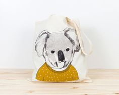 Tote bag with original illustration by Depeapa. Limited edition.  Koala is screenprinted on 100% cotton tote bag.