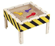 Children can explore, dig, and excavate in this compact size Anatex sand play table. The Anatex Sand Play Table is made of wood with yellow and black construction zone stripes and includes bonus shovel, strainer, and rake for kids added play. Kids Sand Table, Play Table, Outdoor Box, Outdoor Play, Indoor Outdoor, Sand Play, Water Play, Multiplication For Kids, Sensory Table