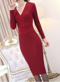 Polyester Solid Long Sleeve Mid-Calf Elegant Dresses (1023573) @ floryday.com