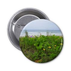 Wildflowers on the beach pinback buttons
