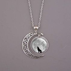Wolf Necklace,Wolf jewelry,Wolf pendant,dark clouds Pendant,moon necklace,custom picture art pendant