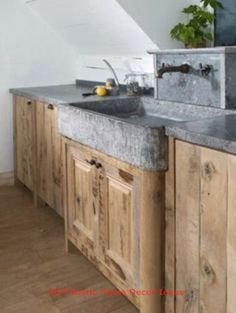 31 Rustic Farmhouse Concrete Countertops - rustic concrete farmhouse sink Always wanted to discover how to knit, although not certain how to start? This Total Begi. Kitchen Island Ikea Hack, Rustic Kitchen Island, Stone Kitchen Sink, Soapstone Kitchen, Stone Sink, New Kitchen, Kitchen Decor, Laminate Countertops, Stained Concrete Countertops