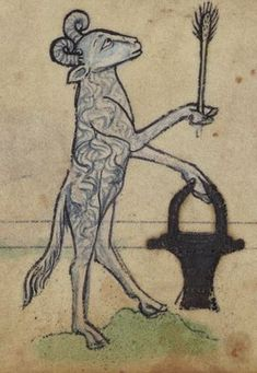 """""""Ram, with situla, sprinkling holy water with an aspergillum"""". Walters Museum MS. W.102."""