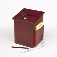 Wooden Ballot Box W Sign Holder Pocket Pen Amp Lock Wall