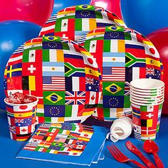The International Flag Basic Kit-N-Kaboodle features decorations and tableware with various flags from around the world.
