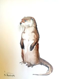 Show & Tell- your Etsy Business- Team (Satet) — River Otter Painting, original watercolor. Watercolor Pictures, Watercolor Animals, Watercolor Paintings, Original Paintings, Animal Paintings, Animal Drawings, Art Drawings, Different Forms Of Art, River Otter