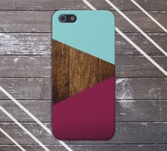 Teal x Dark Wood x Maroon Geometric Case for iPhone 5/5s, iPhone 5C, iPhone 4/4s, and Samsung Galaxy