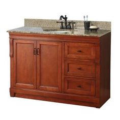 Naples 49 in. W x 22 in. D Vanity with Right Drawers in Warm Cinnamon with Granite Top in Quadro- m.bath NACAQU4922D at The Home Depot