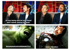 """Mark Ruffalo and Robert Downey Jr. on Tony's return to life at the end of """"The Avengers."""""""