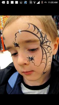 Halloween Makeup for Kids - 20 Inspirational Ideas :) - ne .- Halloween Make-up für Kinder- 20 inspirierende Ideen 🙂 – nettetipps.de Halloween Makeup for Kids – 20 Inspirational Ideas :] – nettetipps. Spider Face Painting, Face Painting Halloween Kids, Halloween Makeup For Kids, Face Painting For Boys, Up Halloween, Body Painting, Simple Face Painting, Halloween Spider Makeup, Easy Face Painting Designs