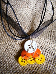Candy corn button necklace