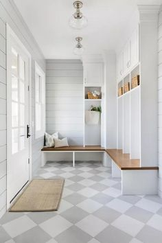 A mud room, by virtue of its existence, makes all the other rooms in the house so much tidier. I have 10 things to include in a Mud Room here. Mudroom Laundry Room, Farmhouse Laundry Room, Mud Room Lockers, Farmhouse Flooring, Mudrooms With Laundry, Mudroom Shelf, Laundry Room Island, Built In Lockers, Laundry Decor