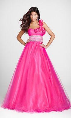 Homecoming Dresses#Quinceanera Dresses#Long# A-Line Dress #Organza #Fuchsia Dress
