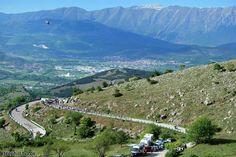The view from the finishing climb, 19 km @ 3.9 % climb to Rocca di Cambio, Giro d'Italia 2012