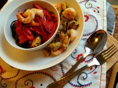 Wok Root Veggies with seafood and coconut milk