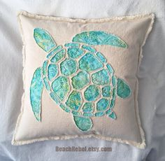 Sea turtle applique pillow cover in aqua leaf batik by BeachRebel