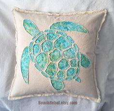 Sea turtle applique pillow cover in aqua leaf batik by BeachRebel