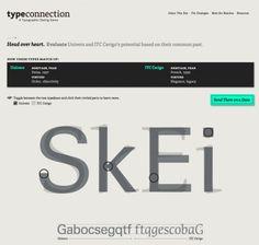 Type Connection est un ludique et très pratique site Internet qui permet de choisir et de mélanger différentes polices de caractère. A partir d'une typographie donnée et de différents critères de sélection, le site nous propose ainsi différentes associations qui fonctionnent bien ensemble, le tout dans un univers très visuel et très graphique.