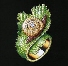 The glistening coloured #diamond snail ring