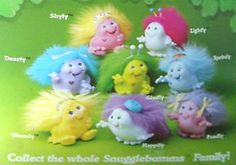 Snugglebumms were produced by Playskool in 1984 and MB from 1985*. They were a series of funny, squat little characters with long furry backs for brushing. Baby Snugglebumms giggled when shook, and the adults lit up when hugged. There were also pets, bugs, miniatures and puzzles.