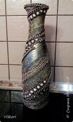 Декор предметов Ассамбляж Вазы в стиле терра и стимпанк Бутылки стеклянные фото 2