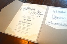 Rustic wedding invitations with a touch of lace by Something Printed