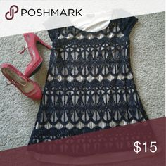 Black lace dress In good condition black lace dress medium size for a petite woman.  New without tag red  high heels size 7 asking $15 each or bundle get a discount Dresses Mini
