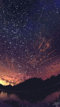 Stars in the night sky Sterne am Nachthimmel mir Iphone Wallpaper Stars, Night Sky Wallpaper, Anime Scenery Wallpaper, Cute Wallpaper Backgrounds, Galaxy Wallpaper, Wallpaper Ideas, Iphone Wallpapers, Night Sky Stars, Starry Night Sky