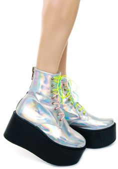 UNIF Gammaray Boot #unif #holographic #platforms. Would make great Bride of Frankenstein shoes.