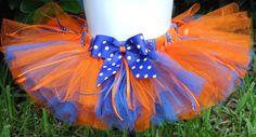 Orange and Blue Tutu College Team Tutu on Etsy, $25.99