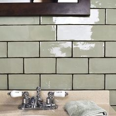 "Tivoli 3"" x 6"" Ceramic Subway Tile in Sage Green"