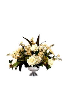 Creative Displays Cream Floral in Silver Vase at MYHABIT