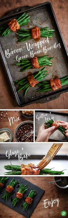 Give those green beans some more love this Thanksgiving with this Publix recipe. Bundle them up and wrap them in bacon. Combine chopped shallots with soy sauce, brown sugar, and pepper. Let that simmer in a saucepan till it gets syrupy. Gather beans into a bundle, then wrap with 1 bacon slice. Repeat with the rest of the beans. Brush the glaze over the beans and bake until bacon is slightly crisped. Gather 'round and grab a bundle!