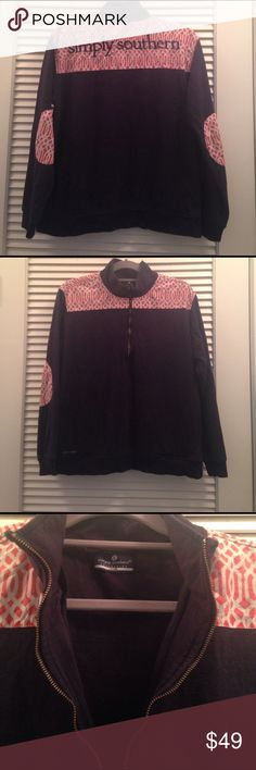 Simply Southern quarter zip women's large This adorable navy with simply southern orange and white pattern is in great condition 100% cotton simply southern collection Tops Sweatshirts & Hoodies